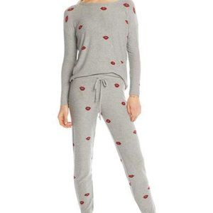 Chaser Lounge Set - Grey with Red Lips Joggers
